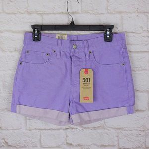 NWT Levi's 501 Purple Denim Shorts Button Fly 27